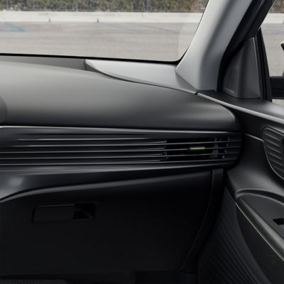 The all-new Hyundai i20 dashboard with the new horizontal blades and air vent on the passenger side