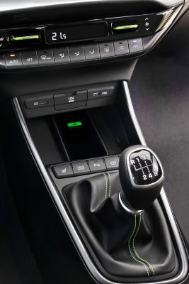 The middle console of an all-new Hyundai i20, driver's side view