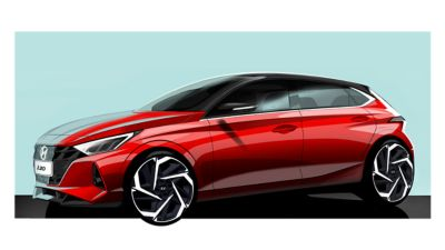Concept art of a red all-new Hyundai i20 in front of a green background,  driver side view