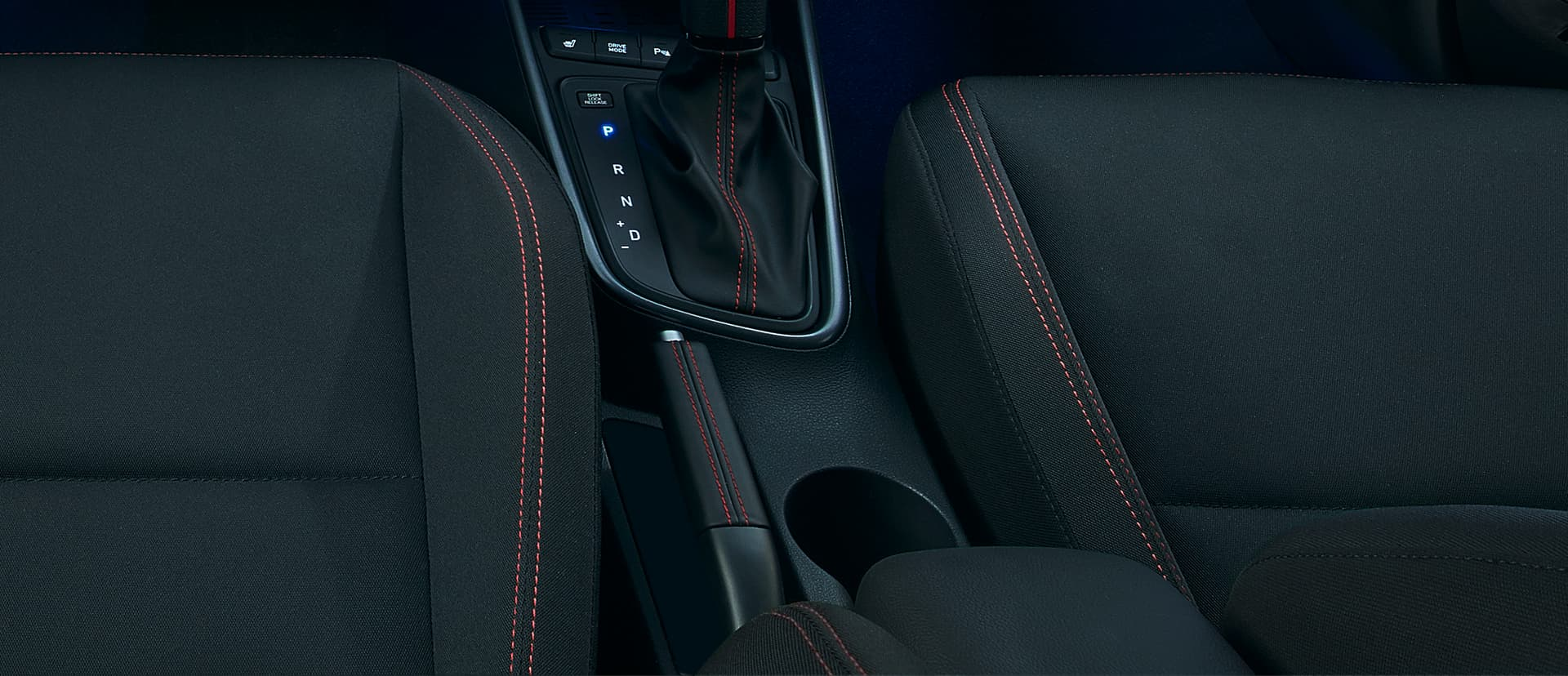 The iconic red stitching across the interior of the all-new Hyundai i20 N Line.