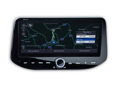 The touchscreen inside the new Hyundai i30 Wagon, displaying the navigation map.