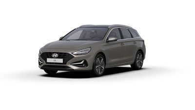 Front side view of the new Hyundai i30 Wagon in the colour Silky Bronze Brown Metallic.