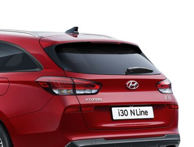 Close-up of the rear spoiler on the new Hyundai i30 N Line Wagon