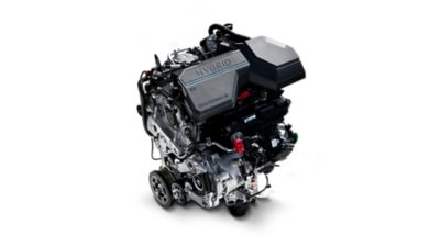 An image of the state-of-the-art hybrid engine in the the new Hyundai Santa Fe.