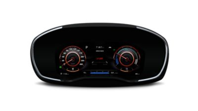 "A picture of the new Hyundai Santa Fe's new 12.3"" fully digital cluster."