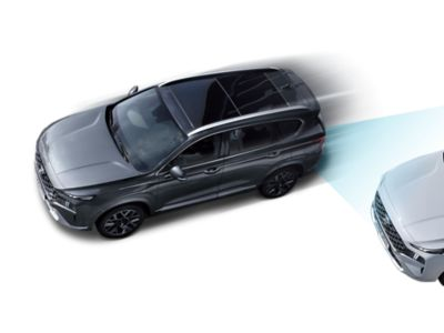 The new Hyundai Santa Fe pictured from above highlighting the Advanced Driver Assistance Systems.
