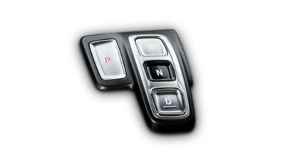 A close up image of the button type shift-by-wire inside the new Hyundai Santa Fe SUV.