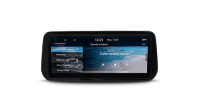 "A picture of the new Hyundai Santa Fe Hybrid's optimally placed 10.25"" touch widescreen."
