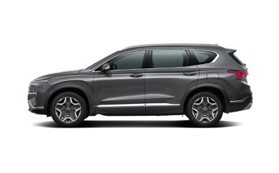 Sideview of the new Hyundai Santa Fe Plug-in Hybrid 7 seat SUV.
