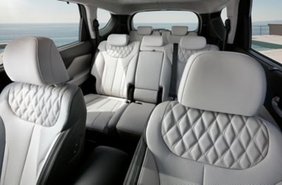 Interior view of all the seats inside of the new Hyundai Santa Fe Plug-in Hybrid 7 seat SUV.