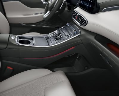 The new Hyundai Santa Fe Plug-in Hybrid SUV and its tray under the centre console.