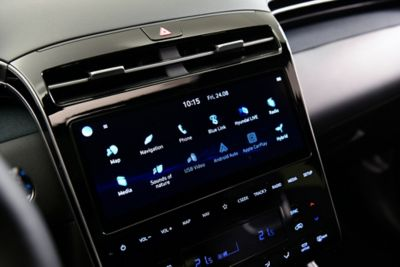 "A close up image of the 10.25"" touchscreen inside the all-new Hyundai Tucson SUV."