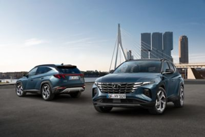 The all-new Hyundai Tucson compact SUV pictured from the front and rear.