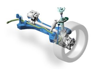 An illustration of the Electronic Controlled Suspension (ECS) in the all-new Hyundai Tucson.