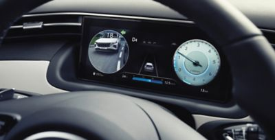 "The 10.25"" digital cluster inside of the all-new Hyundai Tucson Hybrid SUV."