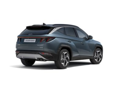 The all-new Hyundai Tucson Hybrid compact SUV pictured from the side with its sporty look.