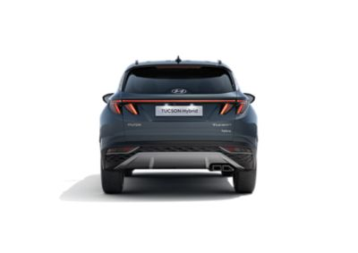 The all-new Hyundai Tucson Hybrid compact SUV pictured from the rear with its<br/>wide LED tail lamps.