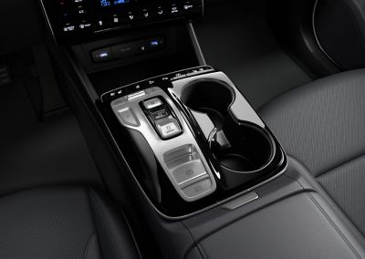 The button type shift by wire <br/>of the all-new Hyundai Tucson Hybrid compact SUV.