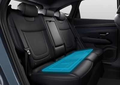Side view of all the seats inside of the all-new Hyundai Tucson Hybrid compact SUV.