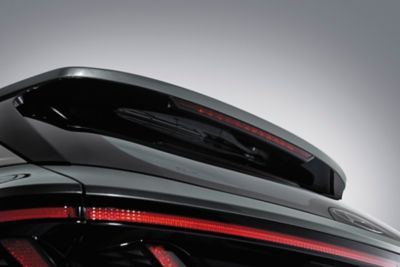 Rear view of the<br/>all-new Hyundai Tucson Hybrid compact SUV with the Hyundai hidden rear wipers.