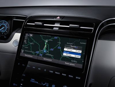 "The new 10.25"" touchscreen and full touchscreen controls in the all-new Hyundai Tucson Hybrid SUV."