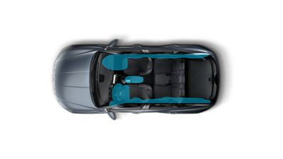 The seven-airbag system enhancing safety inside the all-new Hyundai Tucson Hybrid compact SUV.