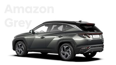 The different color options for the all-new Hyundai Tucson Hybrid compact SUV: Amazon Grey.