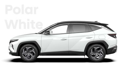 The different color options for the all-new Hyundai Tucson Hybrid compact SUV: Polar White.