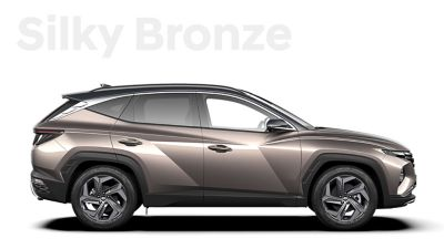 The different color options for the all-new Hyundai Tucson Hybrid compact SUV: Silky Bronze.