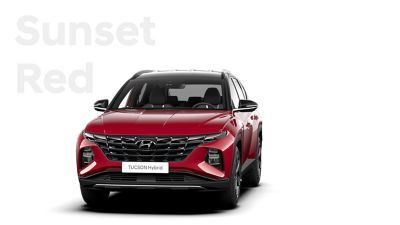 The different color options for the all-new Hyundai Tucson Hybrid compact SUV: Sunset Red.