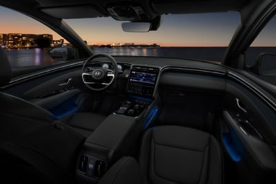 The interior design of the all-new Hyundai Tucson Hybrid compact SUV with its ambient LED lighting.