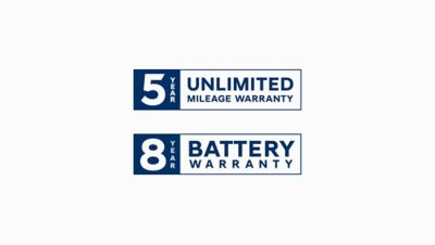Logo of the Hyundai 5 year unlimited mileage and 8 year battery warranty.