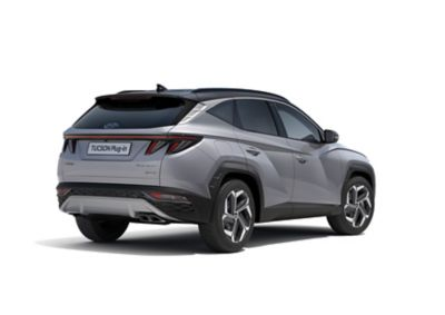 The all-new Hyundai TUCSON Plug-in Hybrid compact SUV pictured from the side with its sporty look.